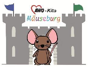 Logo der KiTa Mäuseburg, Maus vor einer Burg